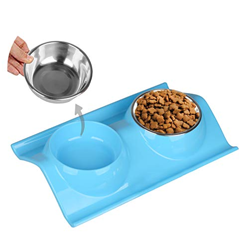 Abree Due Ciotole per Cani e Gatti Acciaio Inox con Antiscivolo W-Shaped Base Ciotola Cane per Acqua e Cibo Piccoli Animali Pet Feeder Blu (38 x 25 x 6cm / 2 x 320ml)