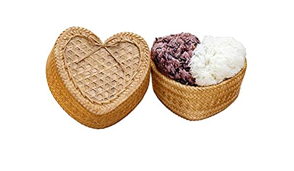 Thai Kratip Sticky Rice Heart shape Handmade Bamboo Basketry Cookware  Gift