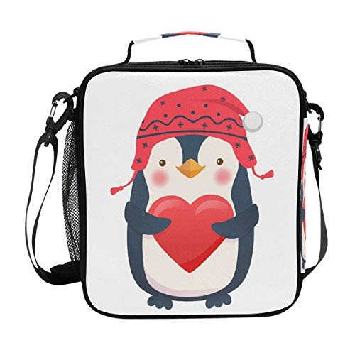 CPYang Isolierte Lunchtasche mit Schultergurt für Valentinstag, Tier-Pinguin, Lunchbox, Kühltasche mit Schulterriemen für Damen und Herren - Pinguin Lunch-box