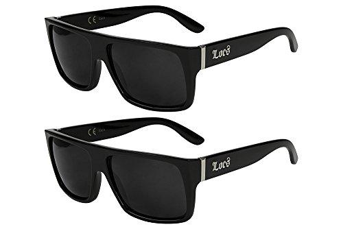 X-CRUZE® 2er Pack Locs 9006 X 12 Sonnenbrillen Unisex Herren Damen Männer Frauen Brille - 1x Modell 08 (schwarz glänzend/schwarz getönt) und 1x Modell 08 (schwarz glänzend/schwarz getönt)