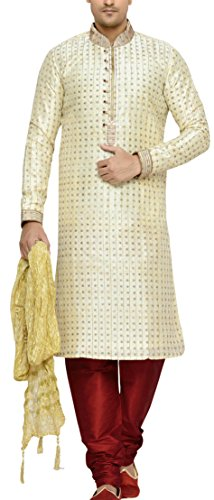 Indian Poshakh Men's Silk Sherwani (1147_38, 38, Beige and Red)