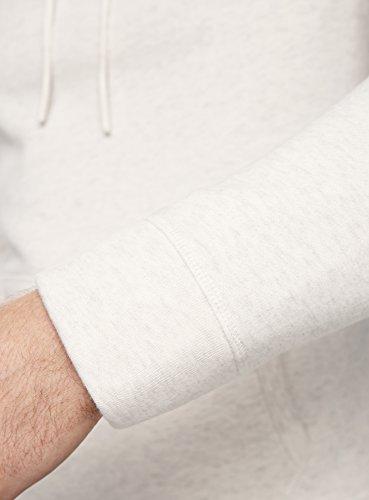 oodji Ultra Herren Kapuzenpullover mit Breitem Kragen und Bindebändern Weiß (1200M)