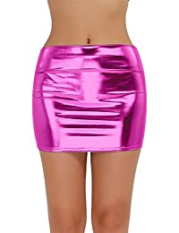 ffa3bedbc8db9 Freebily Mini Jupe Femme Jupe Courte Wetlook Cuir Brillant Élastique Jupe  Serré Mini Robe Moulante pour