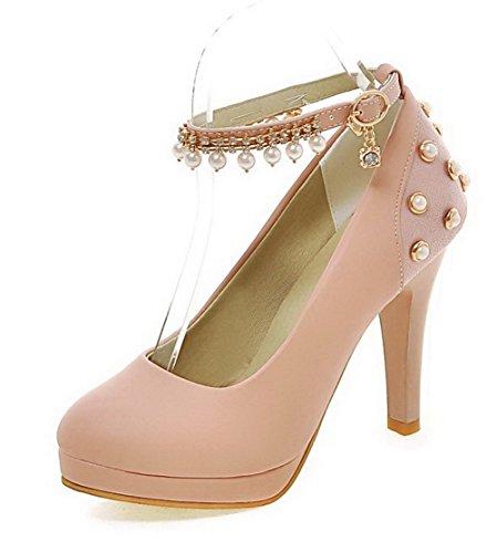 AllhqFashion Damen Weiches Material Rund Zehe Hoher Absatz Schnalle Eingelegt Pumps Schuhe Pink