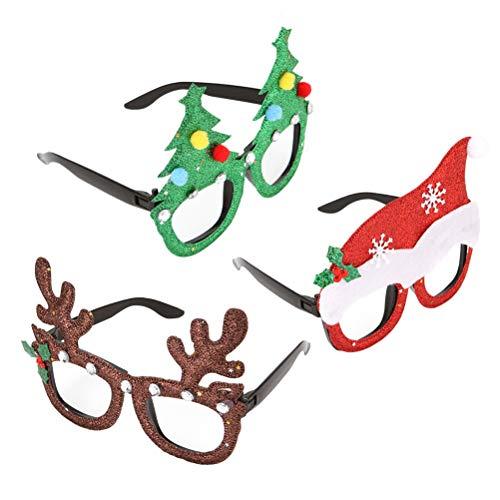 BESTOYARD 3 STÜCKE Neuheit Weihnachten Sonnenbrille Kunststoff Kostüm Brillen Weihnachten Foto Requisiten Party Decor für Kinder Geburtstagsparty Cosplay Liefert (Weihnachtsbaum / Hut / Hirschhorn)