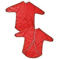Major Brushes - Grembiule da gioco impermeabile, a maniche lunghe, con chiusura a velcro, 60 cm (anni 2-4), colore: Rosso