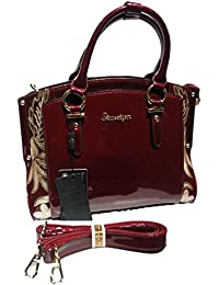 Magnolia Handbag For Women In Dark Maroon Colour With Long Belt And Three Compartment