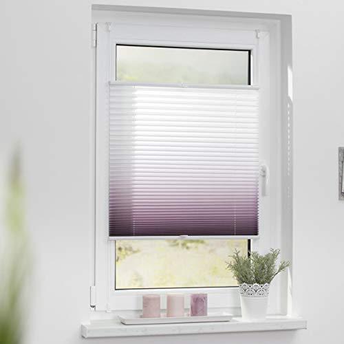 Lichtblick Plissee Klemmfix, 90 cm x 130 cm (B x L) in Taupe mit Farbverlauf, ohne Bohren, Sicht- und Sonnenschutz, lichtdurchlässig & blickdicht