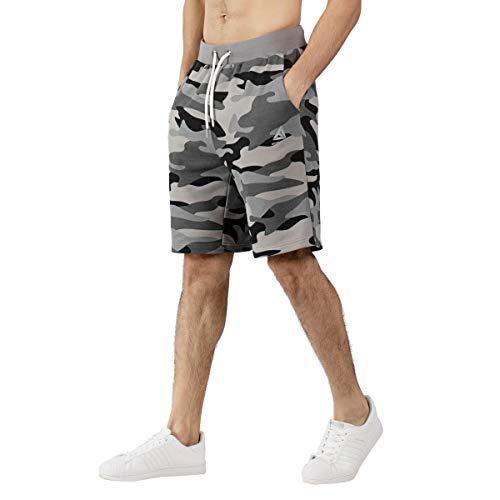 Camo Shorts Herren (Extreme Pop Herren Camo Shorts Terry Army Camouflage Combat Short Pants Lässige Cargo Beach Halbe Hose Sporttaschen Shorts Camo Grün und Grau (L, Grau))