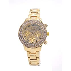 Sheli Gold Plated Rhinestone Accented 30m Water Resistant Quartz Bangle Watch for Women, 37mm