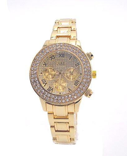 Sheli Gold überzogener Rhinestone Betonte Chronograph Wasserdichte Quarz Armbanduhren für Damen, 25mm