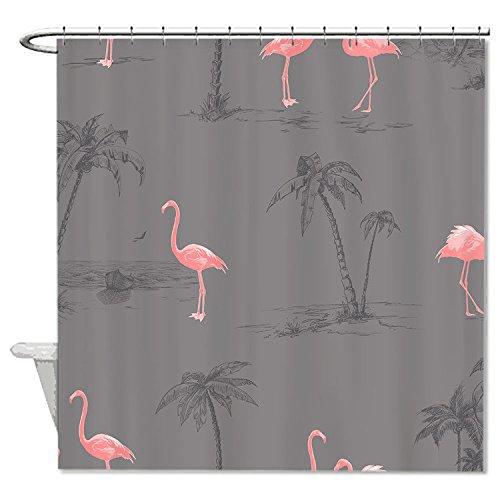 istent Stoff pink Flamingos grau Polyester Wasserdicht Duschvorhang, HLN-006 (Yard Rosa Flamingos)