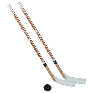 Eishockeyschläger-Set Junior 6: 2 Vancouver-Schläger 115cm gerade Kelle & Puck