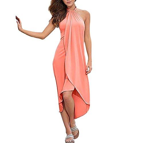 ROPALIA Boho Femme Robe de Soirée Maxi Longue Robe de Plage Eté Rose