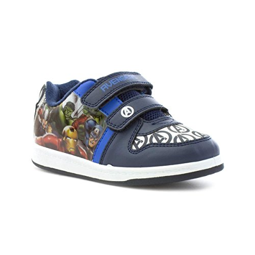 The Avengers Avengers - Marvel Avengers Kids Navy Twin Velcro Trainer - Size 10 - Blue