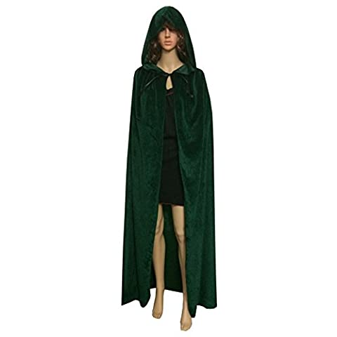Moresave Halloween Unisex Long Velvet Hooded Cloak Cape Deluxe Vampire Fancy Dress Wedding Witch