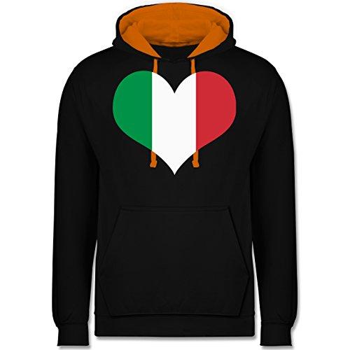 Länder - Italien Herz - Kontrast Hoodie Schwarz/Orange