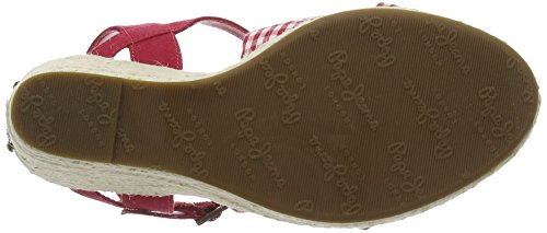 Pepe Jeans Walker Tubular, Sandales  Bout ouvert femme Rouge - Rot (258RED HOT)