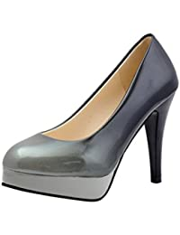 ¡Oferta de liquidación! Zapatos de charol de moda de mujer de Covermason Zapatos de tacón alto de color degradado(37 EU, gris)