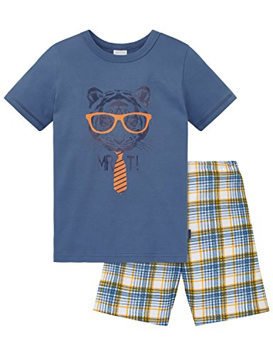 Schiesser Jungen Zweiteiliger Schlafanzug Kn Anzug Kurz, Blau (Blau 800), 140 (Classic T-shirt-krawatte)