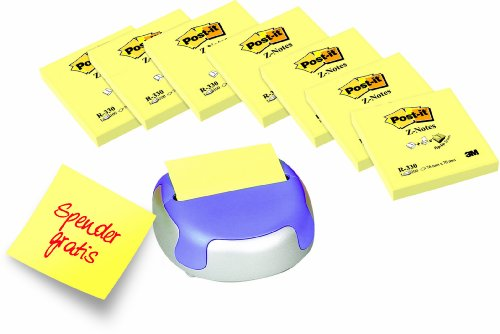Post-it Z-Notes Promotion Cosmo - 8 x Z-Notes R330 (Gelb, 76 x 76 mm, 100 Blatt) + Cosmo Spender gratis