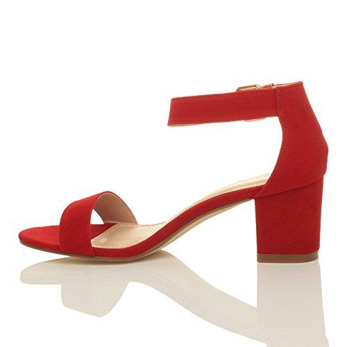 Boucle Mi-talon Pour Femme Bout Ouvert Cheville Sandales À Lanières Taille En Daim Rouge