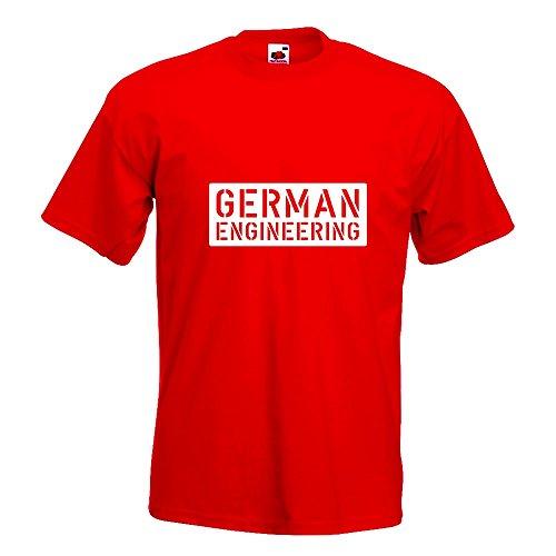 KIWISTAR - German Engeneering T-Shirt in 15 verschiedenen Farben - Herren Funshirt bedruckt Design Sprüche Spruch Motive Oberteil Baumwolle Print Größe S M L XL XXL Rot