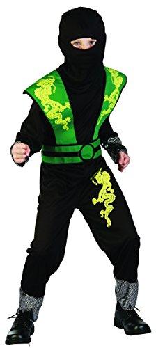Magicoo Dragon Ninja Kostüm Kinder grün-schwarz Halloween Karneval - Ninja Kostüme für Kinder Jungen (122/128) (Dragon Kostüm Kinder)
