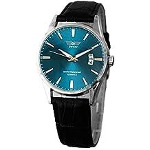 Relojes Hombre,Xinan Clásico Negro Correa de Cuero Calendario de Pulsera de Cuarzo (Azul)