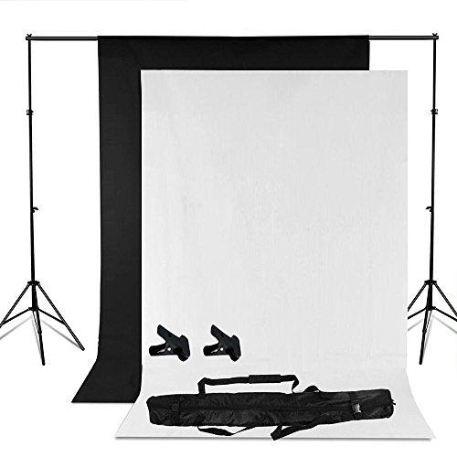Andoer-Photo-Studio-Set-Scenografia-Stand-Kit-con-Storage-Sacco-Nero-Bianco-non-Tessuti-Sfondi-e-Mini-clip