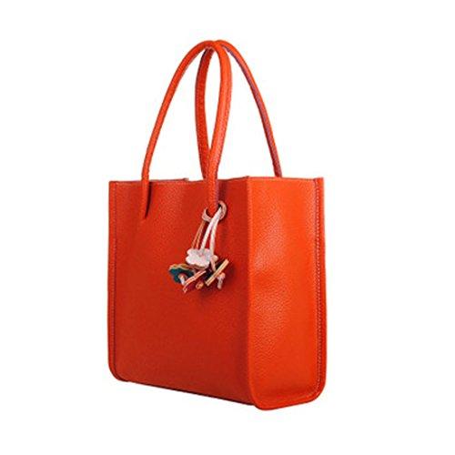 Handtasche Damen Btruely Mädchen Schultertasche PU Tasche (Orange) (Orange Mini-rucksack)