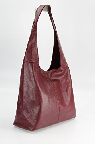 ital. Leder Handtasche Schultertasche Modena Damen Ledertasche Umhängetasche - Farbauswahl - 37x30x13 (B x H x T) (Schwarz) Belli 4BhkM4