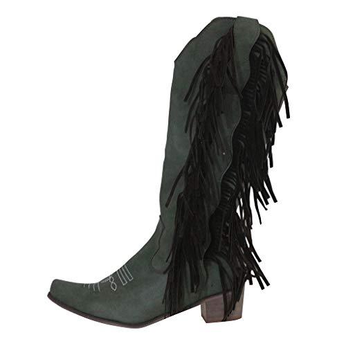 Fenverk Damen Cowboystiefel Mit Trichterabsatz Stickereien Cowboy Stiefel Biker Boots Stiefeletten Leicht GefüTtert Blockabsatz Fransen Nieten Rivet Chunky Stacked Heel Mid Calf Ankle(Grün,39.5 EU)