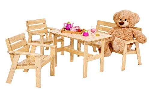 Kinder Gartengarnitur Sitzgruppe aus Holz 4 tlg Kiefer natur