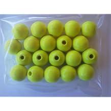 EFCO 20 piezas de 12 mm bolas de madera con 30 mm Diámetro de neón Agujero, Amarillo