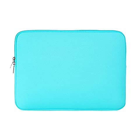 RAINYEAR 15 Inch Soft Neoprene Laptop Sleeve Case Slim Padded Computer Sleeve Bag For 15-15.4 Inch Macbook Pro Notebook UltrabookTablet,Apple/HP/Lenovo/Dell/Acer/Samsung/Asus(Water Blue)