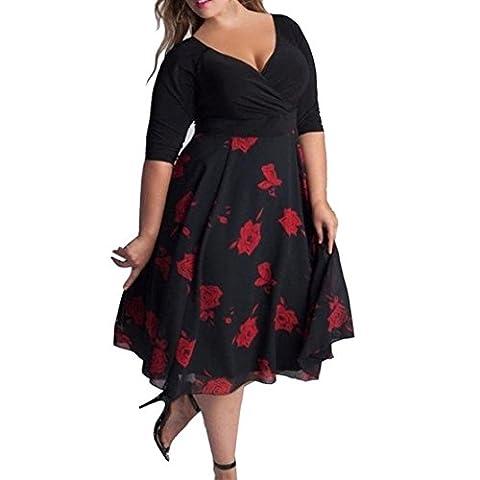Women Plus Size Boho Dress Jimmkey Evening Party Beach Dress Sexy V-Neck Floral Maxi Dress Half Sleeve Dress (XL, Red)