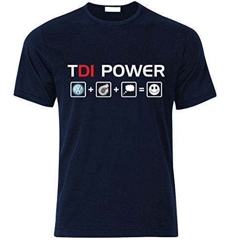 VW TDI DIESEL POWER GOLF POLO SCIROCCO T Shirt T-SHIRT Tuning s/m/l/xl/xxl (L, NAVY BLAU) (Diesel-baumwoll-polo-shirt)