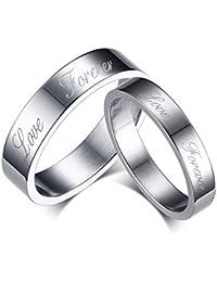 KNSAM - Anillo de bodas de acero inoxidable con grabado