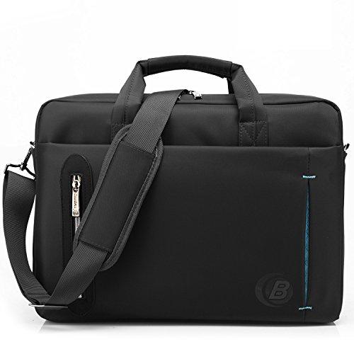 CoolBELL 15,6 Zoll Laptop Tasche mit Riemen mehrfachfach Messenger Bag Nylon Aktentasche für Männer / Damen, Schwarz (Tasche Bag Schwarz Messenger)