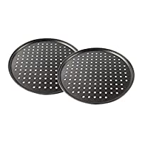 12.5inch Perforated Pizza Pan, 2-Piece Set, Carbon Steel Bakeware with Nonstick Coating Tray Tool Crispy Home Restaurant Kitchen.