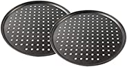 12.5inch Perforated Pizza Pan, 2-Piece Set, Carbon Steel Bakeware with Nonstick Coating Tray Tool Crispy Home