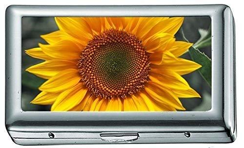 Muster Sonnenblumen Kostüm - Silber Metall Zigarettenetui, Sonnenblume gelb grün Zigarettenetui/Box, Kreditkartenetui für Frauen Männer