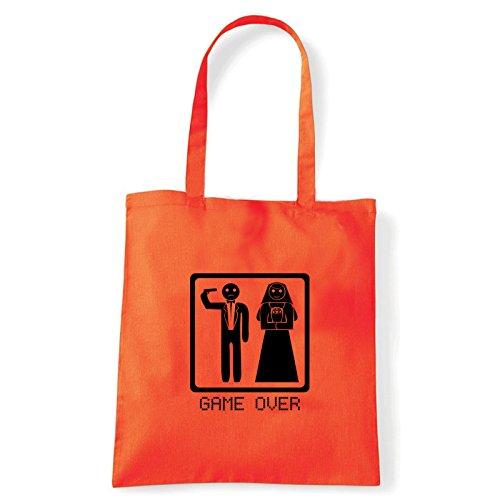 Art T-shirt, Borsa Shoulder game-over Arancio