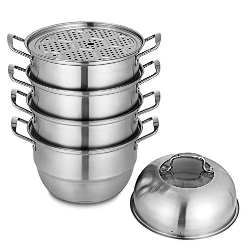 Olibelle Cuiseur à Vapeur 5-Tier Dumpling Steamer de 30 cm de Diamètre Cuit-Vapeur en INOX pour Bar ou Restaurant (30 cm)