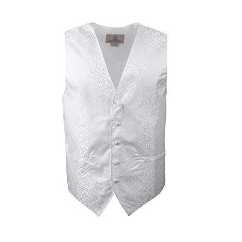 YGB1B02 Fashion Patterned Hochzeit Geschenk Westen Manschettenknopf Taschentuch ??Ascot Krawatte Von Y&G VS2004-Weiß