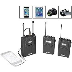 BOYA BY-WM8 micrófono inalámbrico de solapa de doble sistemas (1 emisor + 2 receptores) omnidireccional para iPhone 8 8 más 7 7 más 6 teléfono inteligente 6s Cámaras réflex digitales EFP DSLR Videocámaras Sony RX0