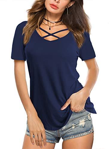 Beluring Damen T-Shirts Criss Cross V-Ausschnitt Kurzarm Sommer Tops,Blau 2XL Bluse Shirt