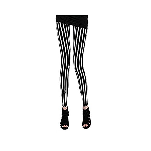 Damen Hose Streifen Leggings Strumpfhose Treggings VQ020 Schwarz Gr.S - Fashion Zebra-streifen