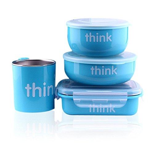 Thinkbaby - Conjunto de 4 Piezas para Alimentación de Bebés hasta Niños en Edad Escolar, sin BPA...